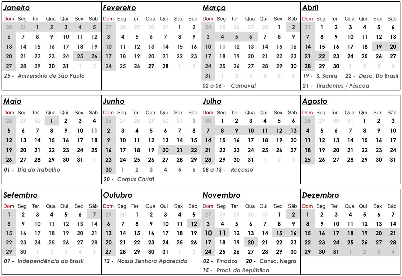 calendario u4m 2019